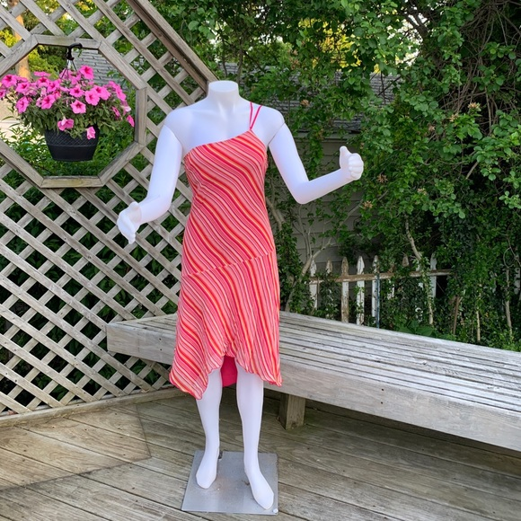 Dresses & Skirts - One shoulder orange &pink stripe dress